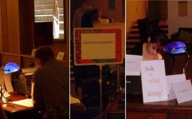 Writers-in-residence composed on-site during the exhibition...